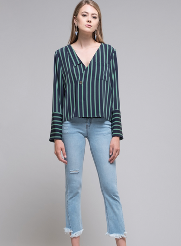 Navy / Green Stripe Blouse