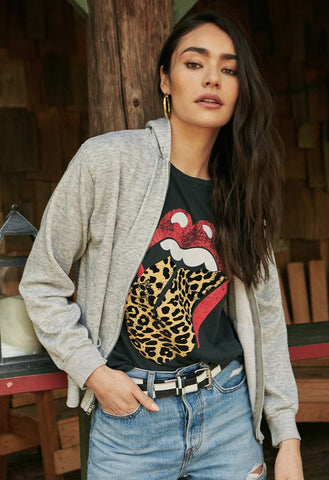 Rolling Stones Flocked Leopard Tongue Tour Tee