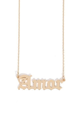Old English Amor Pendant Necklace