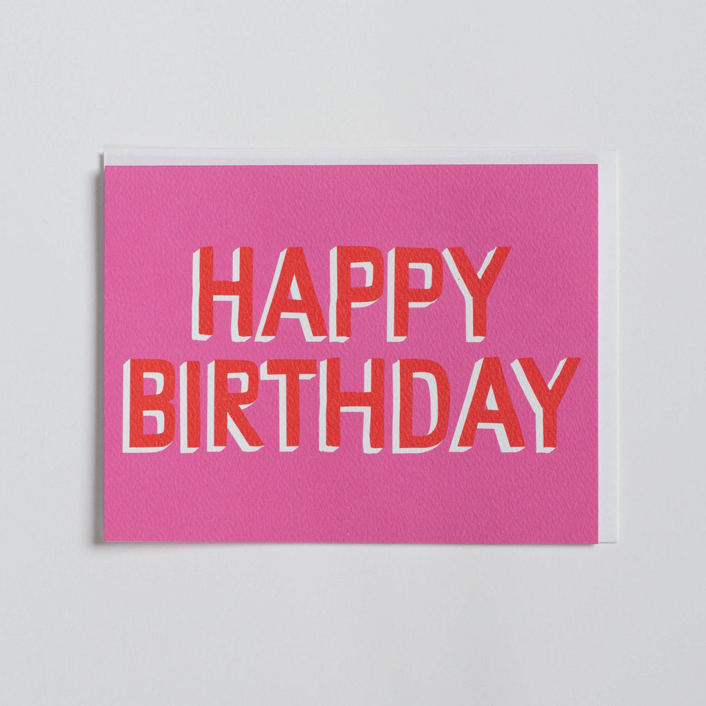 Banquet Workshop - Happy Birthday - Pink and Red Text - Birthday Note Card