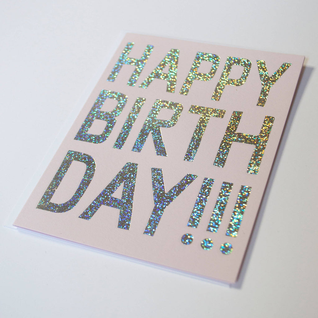 Banquet Workshop - Happy Birthday - glitter foil on pink cards stock