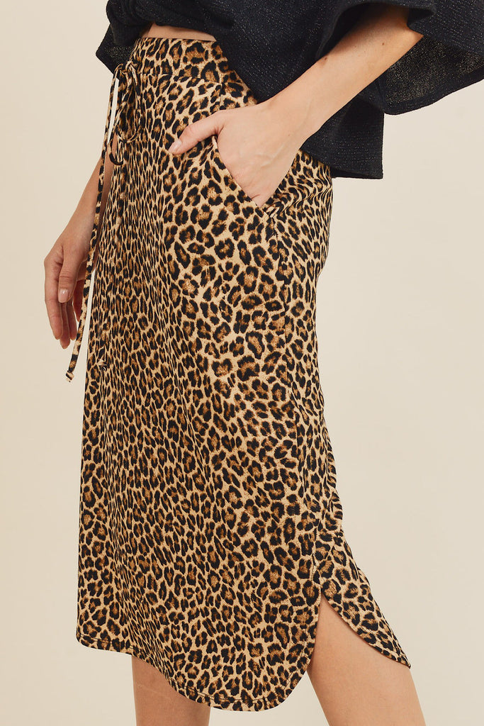Knee Length Leopard Skirt