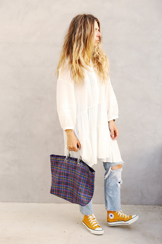 Plaid Tote Blue