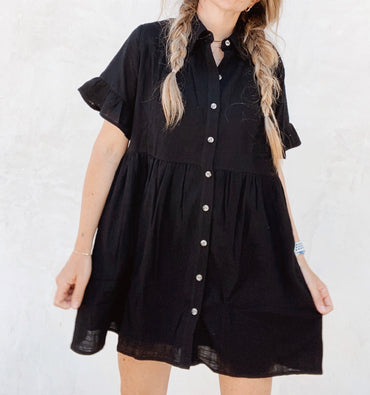 Sunny Babydoll Dress - Black