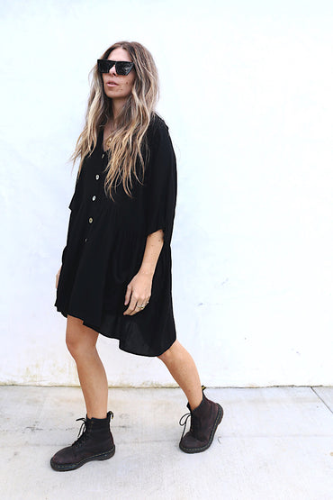 Coco Solid Black Tunic Dress