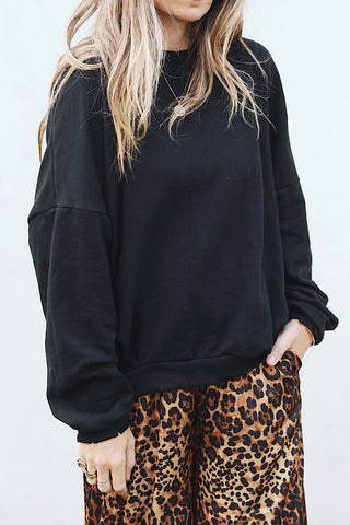 Distressed Black Pullover