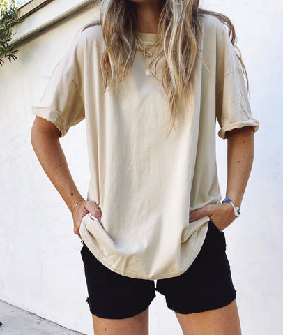 Oversized Washed Khaki Tee
