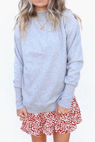 Mock Collar Pullover - Heather Grey