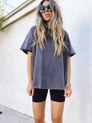Oversized Washed Black Tee