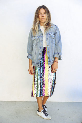 Stripe Sequin Skirt