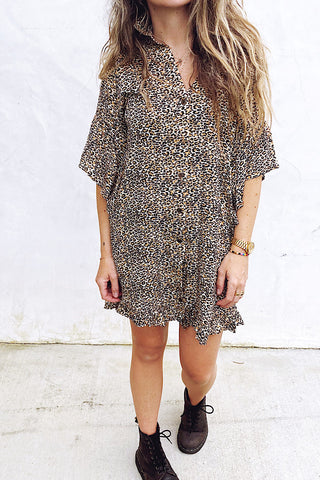 Leopard Bell sleeve dress
