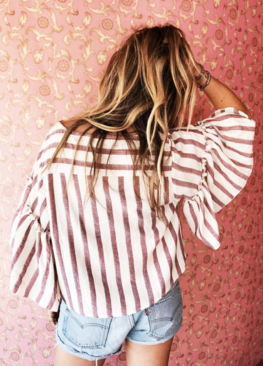 Bombay Stripe Blouse ROSE