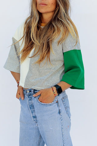 Color Block Crop Tee