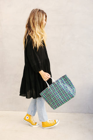 Plaid Tote Green