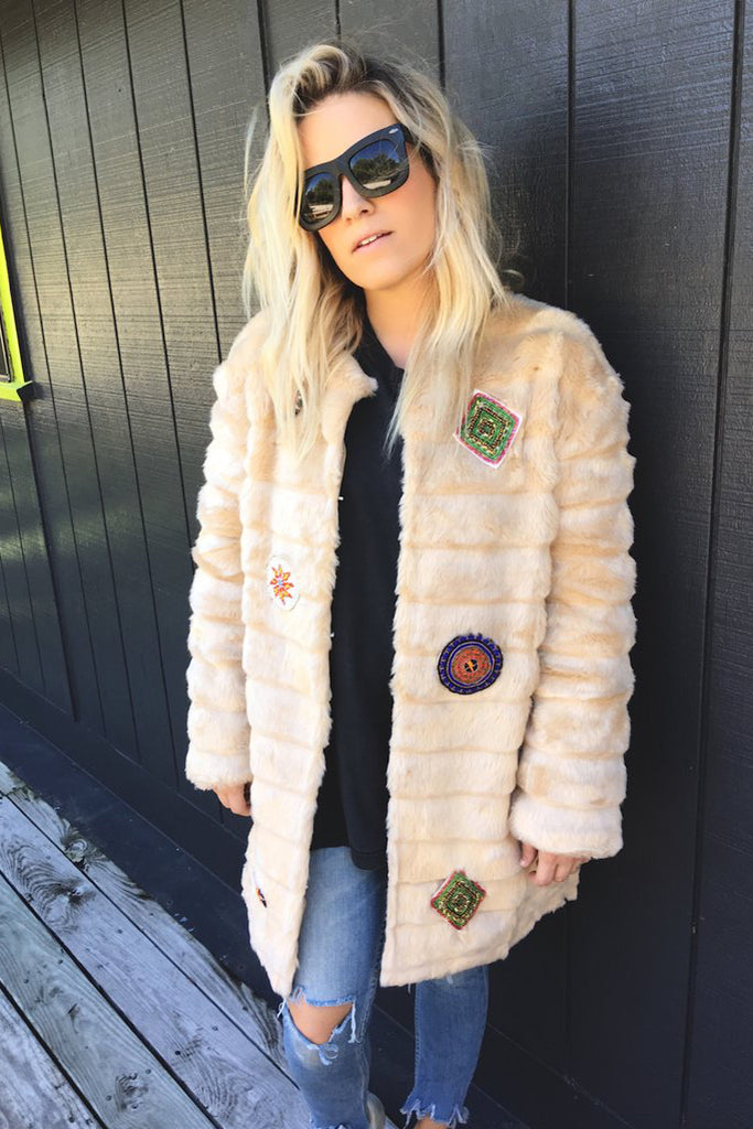 Faux Fur Beaded Coat