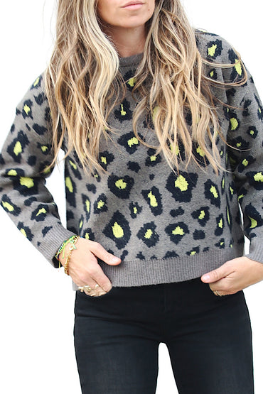 Sierra Leopard Sweater - Grey