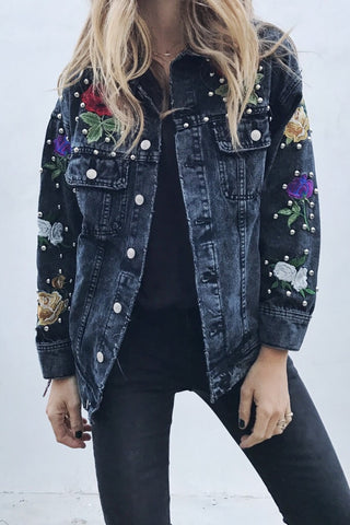 Black Studded Denim Jacket