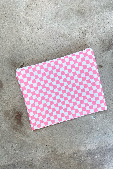 Pink Check Pouch