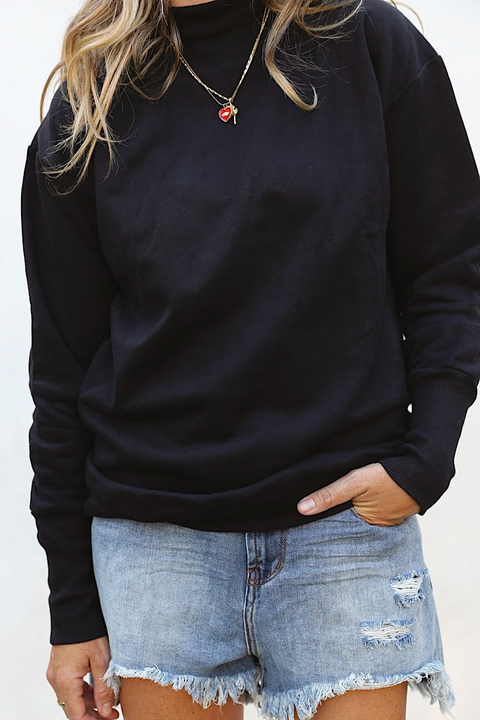 Mock Collar Pullover - Black