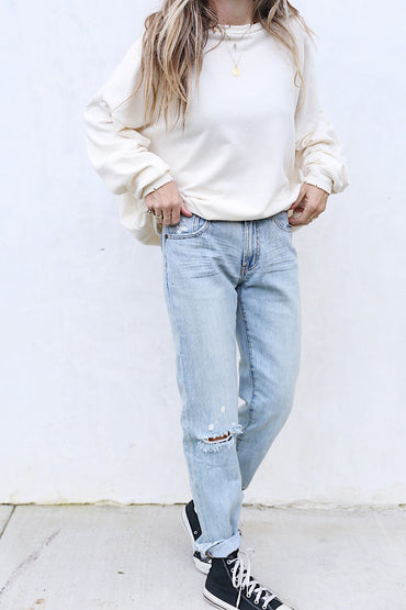 Distressed Cream Pullover