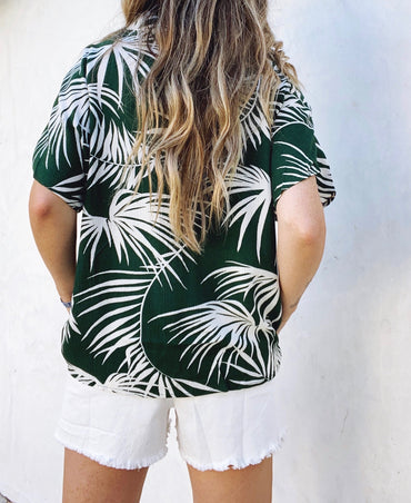 Green Palm Button Down