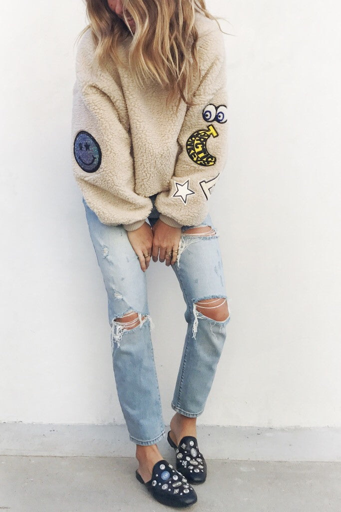 Fuzzy Patch Pullover