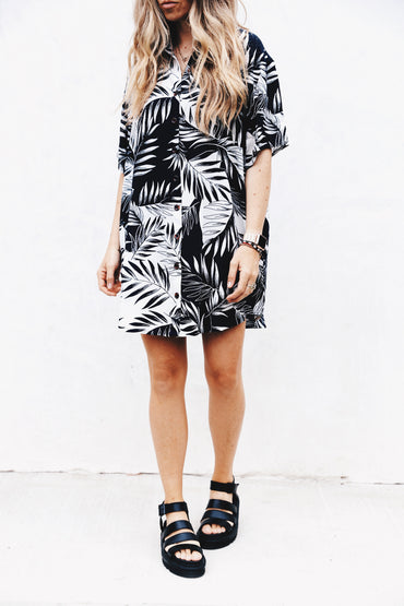 SHADY PALMS DRESS - INK