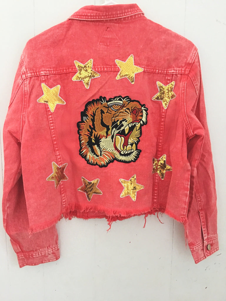 Tiger Embroidered Jacket Red