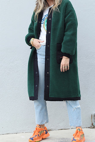 Teddy Faux Fur Long Bomber Coat