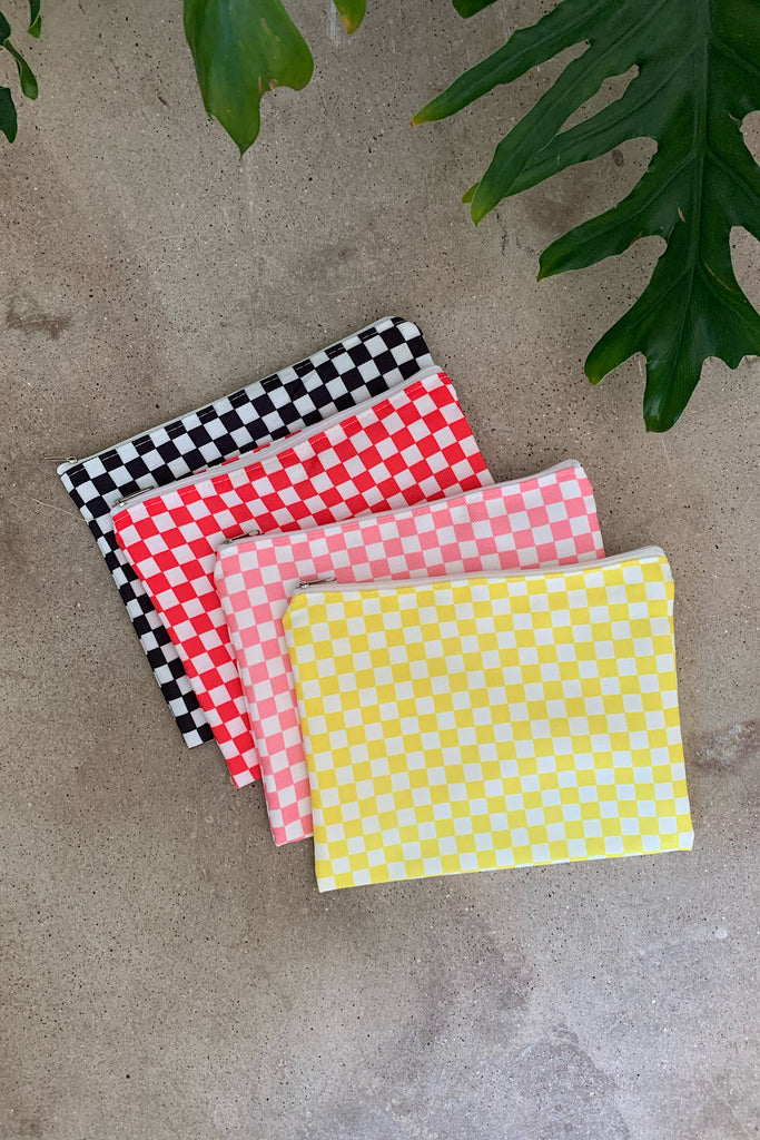 Yellow Check Pouch