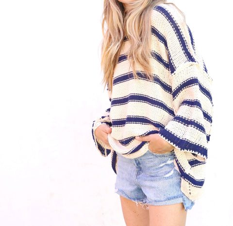 Madison Stripe Knit - Oatmeal