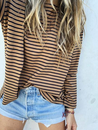 The Arthur Striped Top Mocha