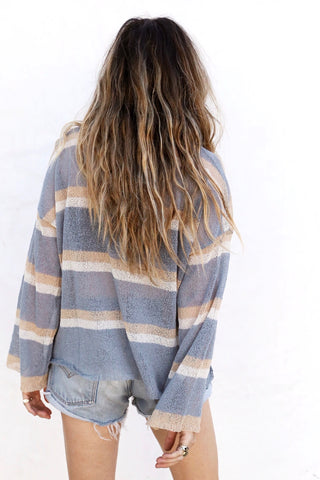 Dusty Blue Stripe Knit Pullover