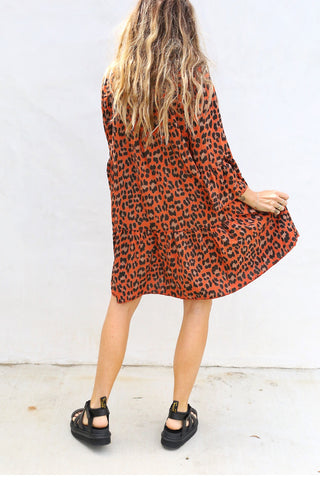 Rust Leopard Dress
