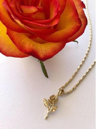 The Gold Little Rose Charm Necklace