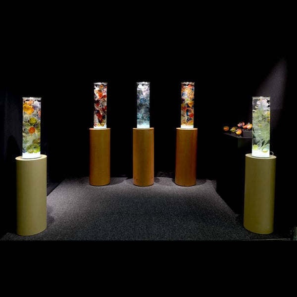 Cylinders with Spotlight for Artist Sculpture Display