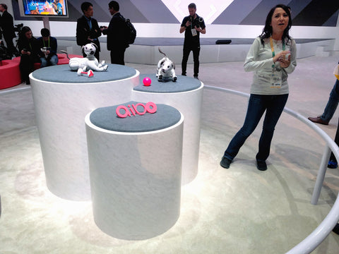 The Aibo presenters keep their booth exciting with dynamic displays from Pedestal Source.