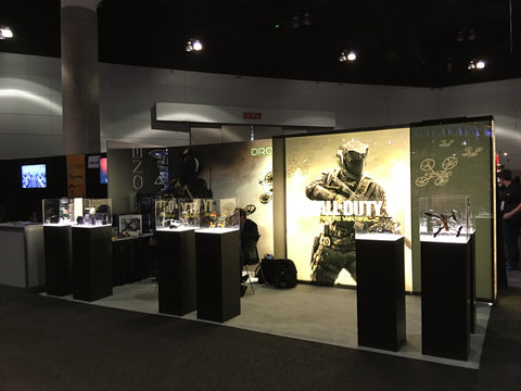 Lighted and covered display cases provided dramatic lighting for Call of Duty