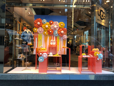 Spring colors pop in this UGG store window on Madison Avenue.