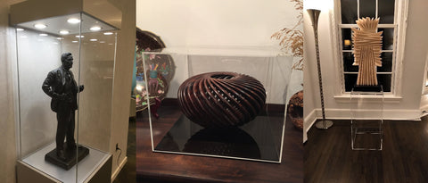 Acrylic display options including modern display case with lights, clear cover, clear pedestal