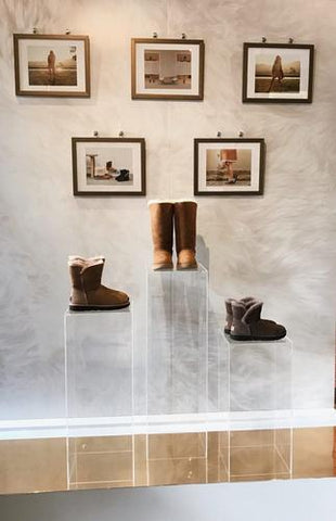 Ugg's iconic boots on our acrylic waterfall pedestals