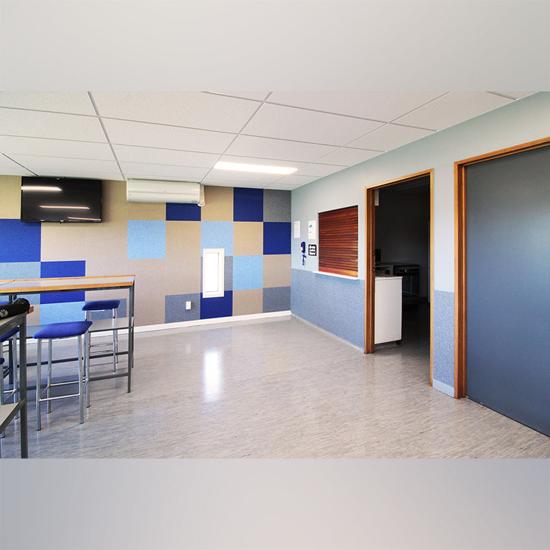 Acoustic Hanging Panel - Office Acoustics - Sound Panels colourful blue blocks