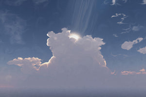 digital art showing a strong ray of light from the heavens