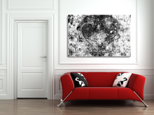 "Load image into Gallery viewer, Large metal print over a red couch. Black Lives Matter. Black and white abstract with a gray heart, a mix of paint splashes, and the text ""black lives matter"" spread through out."
