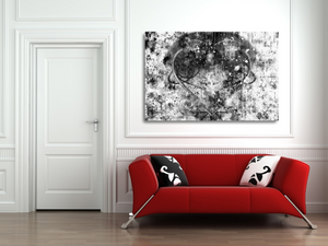 "Large metal print over a red couch. Black Lives Matter. Black and white abstract with a gray heart, a mix of paint splashes, and the text ""black lives matter"" spread through out."