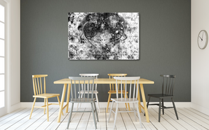 "Large metal print. Black Lives Matter. Black and white abstract with a gray heart, a mix of paint splashes, and the text ""black lives matter"" spread through out."