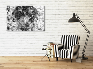"Medium metal print by a black & white chair. Black Lives Matter. Black and white abstract with a gray heart, a mix of paint splashes, and the text ""black lives matter"" spread through out."