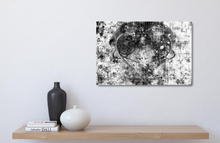 "Load image into Gallery viewer, Small metal print ablove a wood shelf. Black Lives Matter. Black and white abstract with a gray heart, a mix of paint splashes, and the text ""black lives matter"" spread through out."