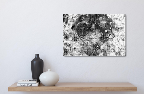 Small metal print ablove a wood shelf. Black Lives Matter. Black and white abstract with a gray heart, a mix of paint splashes, and the text