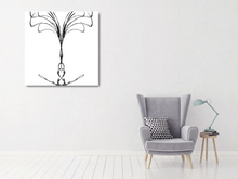 Load image into Gallery viewer, Metal print of abstract black tree on white background. Made of barbed wire.